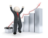 Happy 3d business man - graph chart. Happy 3d white business man in costume jumping in front of a gray financial graph Royalty Free Stock Images