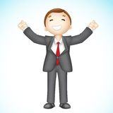 Happy 3d Business man in Vector. Illustration of 3d business man in vector showing happy gesture Stock Image