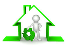 Happy 3d character inside eco house Stock Photos