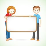Happy 3d Couple in Vector holding Placard. Illustration of 3d happy couple in vector fully scalable holding placard Royalty Free Stock Photos