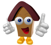 Happy 3d house mascot character Royalty Free Stock Photos