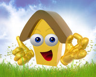 Happy 3d house mascot character Royalty Free Stock Photography