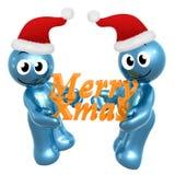 Happy 3d icon wearing Santa hat Stock Photography