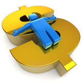 Happy 3D Man on Golden Dollar Stock Photography