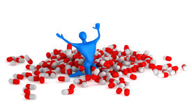 Happy 3d man among pills Royalty Free Stock Photos