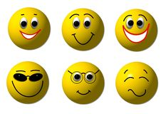 Happy 3D Smileys Stock Photos