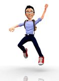 Happy 3D student jumping Royalty Free Stock Photo