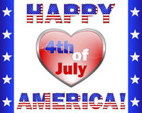 Happy 4th July America, greeting card. Happy 4th July America. Cute text and a heart-shaped frame on white. Vector illustration stock illustration