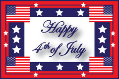 Happy 4th of July American Flag. Illustration showing a frame with the American flag and stars with the message 'Happy 4th of July' inside Royalty Free Stock Image