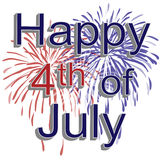Happy 4th of July Fireworks. Graphic illustration of red, white, and blue fireworks with 3d text happy 4th of july on a white background Stock Illustration