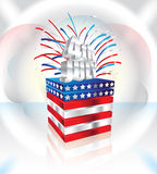 Happy 4th July Vector greeting card. 3d letters on cube with american national flag and fireworks vector illustration