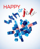 Happy 4th of July. Vector greeting card. Exploding 3d Sphere with American symbols Royalty Free Stock Image