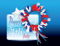 Happy 4th of July Vector greeting card very suitab. Isolated Holiday Ribbon for 4th of July Stock Images
