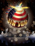 Happy 4th of July Vector planet. Holiday greeting card. Explosion of colors and shapes. 3d sphere with american national flag and 3d letters Stock Photography