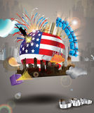Happy 4th of July Vector planet. Holiday greeting card. Explosion of colors and shapes. 3d sphere with american national flag and 3d letters Stock Photo
