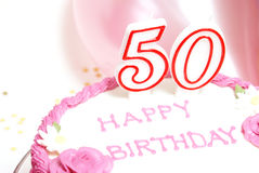 Happy 50th Birthday. A 50th birthday cake for to celebrate someones special day Royalty Free Stock Photo