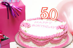 Happy 50th Birthday. A 50th birthday cake to celebrate someones special day Royalty Free Stock Photography