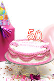 Happy 50th Birthday. A 50th birthday cake for to celebrate someones special day Stock Photo
