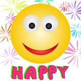 Happy :-). An illustration of an happy emoticon Royalty Free Stock Photos