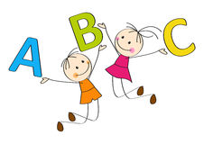 Happy ABC. Jumping kids with letters A, B, C stock illustration