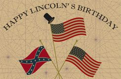 Happy Lincoln Birthday. Union and Confederate Flags with Top Hat Royalty Free Stock Images