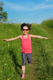 Happy active child having fun outdoors Royalty Free Stock Photos