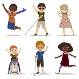 Happy and active children with disabilities. Special needs children. Happy and active children with disabilities. Blind boy, girl in a wheelchair, kids with leg vector illustration