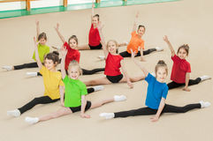 Happy active children in gym Stock Photo