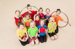 Happy active children in gym Royalty Free Stock Images