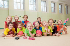 Happy active children in gym Stock Photos