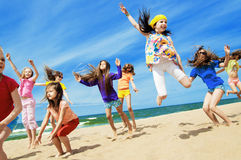 Happy active children jumping royalty free stock photo
