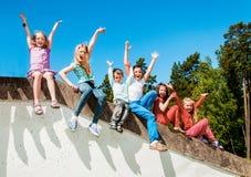 Happy active children outdoors stock photos