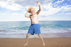 Happy active elderly man royalty free stock photography