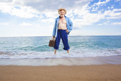 Happy active elderly man royalty free stock photos