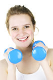 Happy active girl exercising with weights Royalty Free Stock Photo