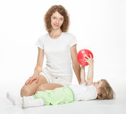 Happy active mother and her little daughter Stock Photography
