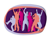Happy active party people cutout silhouette Royalty Free Stock Image