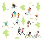 Happy active people in various lifestyles in spring park with trees. Man and woman walking outdoor. Park wuth green tree, walk family vector illustration Royalty Free Stock Photos