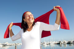 Happy active retirement woman Stock Image