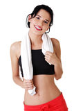 Happy active woman in sports clothes Stock Photo