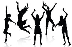 Happy active women silhouettes. Active women silhouettes isolated on white background Royalty Free Stock Image