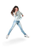 Happy active young girl  jumping Royalty Free Stock Photo