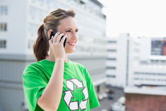 Happy activist talking on the phone Royalty Free Stock Photos
