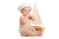 Happy Adorable Baby on a White Background Stock Photos