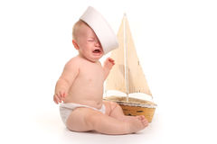 Happy Adorable Baby on a White Background Stock Photography