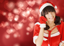 Happy adorable Christmas girl stock images