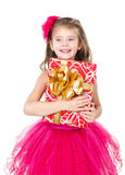 Happy adorable little girl with christmas gift box Royalty Free Stock Photo