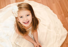 Happy adorable little girl in princess dress Royalty Free Stock Photos