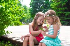Happy adorable little girls enjoying warm summer Stock Image