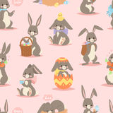 Happy adorable rabbit cartoon character cheerful mammal holiday art hare with basket and cute easter bunny with eggs Stock Image
